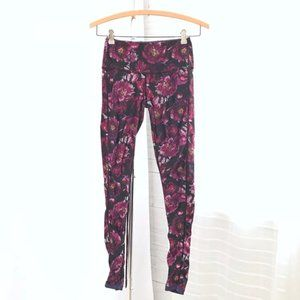 Peach Pink Floral Ruched Front Athletic Leggings
